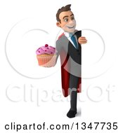 Clipart Of A 3d Full Length Super White Businessman Holding A Cupcake And Looking Around A Sign Royalty Free Illustration