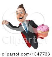 Clipart Of A 3d Super White Businessman Holding A Cupcake And Flying Royalty Free Illustration