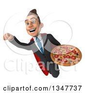 Clipart Of A 3d Super White Businessman Holding A Pizza And Flying Royalty Free Illustration
