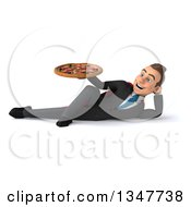 Clipart Of A 3d Super White Businessman Holding A Pizza And Resting On His Side Royalty Free Illustration