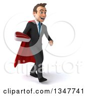 Clipart Of A 3d Super White Businessman Holding A Beef Steak And Walking Slightly To The Right Royalty Free Illustration