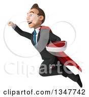 Clipart Of A 3d Super White Businessman Holding A Beef Steak And Flying Up To The Left Royalty Free Illustration