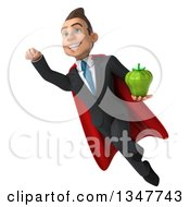 Clipart Of A 3d Super White Businessman Holding A Green Bell Pepper And Flying Royalty Free Illustration