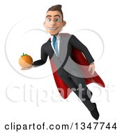 Clipart Of A 3d Super White Businessman Holding A Navel Orange And Flying Royalty Free Illustration