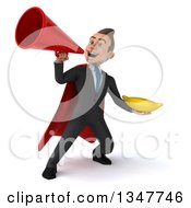 Clipart Of A 3d Super White Businessman Holding A Banana And Announcing With A Megaphone Royalty Free Illustration
