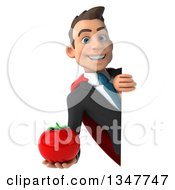 Clipart Of A 3d Super White Businessman Holding A Tomato Around A Sign Royalty Free Illustration