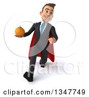 Clipart Of A 3d Super White Businessman Holding A Navel Orange And Speed Walking Royalty Free Illustration
