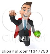 Clipart Of A 3d Super White Businessman Holding A Green Apple And Flying Royalty Free Illustration