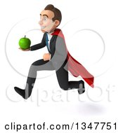 Clipart Of A 3d Super White Businessman Holding A Green Apple And Sprinting To The Left Royalty Free Illustration