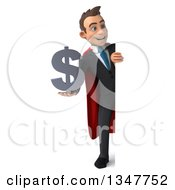 Clipart Of A 3d Full Length Super White Businessman Holding A Dollar Currency Symbol And Looking Around A Sign Royalty Free Illustration