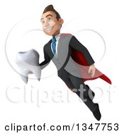 Clipart Of A 3d Super White Businessman Holding A Tooth And Flying Royalty Free Illustration