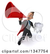 Clipart Of A 3d Super White Businessman Holding A Tooth And Announcing Upwards With A Megaphone Royalty Free Illustration