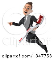 Clipart Of A 3d Young White Businessman Holding A Toothbrush Flying And Pointing Royalty Free Illustration by Julos