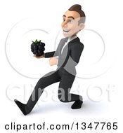 Clipart Of A 3d Young White Businessman Holding A Blackberry And Speed Walking To The Left Royalty Free Illustration