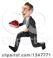 Clipart Of A 3d Young White Businessman Holding A Beef Steak And Sprinting To The Left Royalty Free Illustration