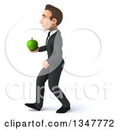 Clipart Of A 3d Young White Businessman Holding A Green Apple And Walking To The Left Royalty Free Illustration