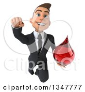 Clipart Of A 3d Young White Businessman Holding A Blood Drop And Flying Royalty Free Illustration by Julos
