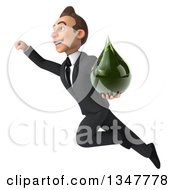 Clipart Of A 3d Young White Businessman Holding A Green Tincture Drop And Flying Royalty Free Illustration