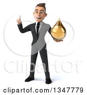 Clipart Of A 3d Young White Businessman Holding Up A Finger And An Amber Tincture Drop Royalty Free Illustration