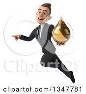 Clipart Of A 3d Young White Businessman Holding An Amber Tincture Drop Flying And Pointing Royalty Free Illustration