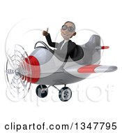 Clipart Of A 3d Young Black Businessman Aviator Pilot Wearing Sunglasses Giving A Thumb Up And Flying A White And Red Airplane Slightly To The Left Royalty Free Illustration