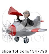 Clipart Of A 3d Young Black Businessman Aviator Pilot Wearing Sunglasses Announcing With A Megaphone And Flying A White And Red Airplane Slightly To The Left Royalty Free Illustration