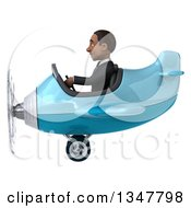 Clipart Of A 3d Young Black Businessman Aviator Pilot Flying A Blue Airplane To The Left Royalty Free Illustration