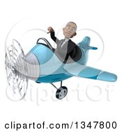 Clipart Of A 3d Young Black Businessman Aviator Pilot Giving A Thumb Down And Flying A Blue Airplane Slightly To The Left Royalty Free Illustration