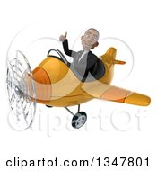 Clipart Of A 3d Young Black Businessman Aviator Pilot Giving A Thumb Up And Flying A Yellow Airplane Slightly To The Left Royalty Free Illustration