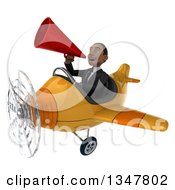 Clipart Of A 3d Young Black Businessman Aviator Pilot Announcing With A Megaphone And Flying A Yellow Airplane Slightly To The Left Royalty Free Illustration