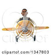 Clipart Of A 3d Young Black Businessman Aviator Pilot Flying A Yellow Airplane Royalty Free Illustration