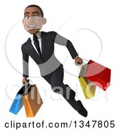 Clipart Of A 3d Young Black Businessman Flying With Shopping Bags Royalty Free Illustration