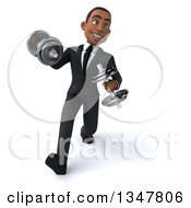 Clipart Of A 3d Young Black Businessman Working Out And Walking With Dumbbells Royalty Free Illustration
