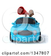 Clipart Of A 3d Young Black Businessman Announcing With A Megaphone And Driving A Blue Convertible Car Royalty Free Illustration
