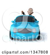 Clipart Of A 3d Young Black Businessman Giving A Thumb Down And Driving A Blue Convertible Car Royalty Free Illustration