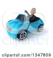 Clipart Of A 3d Young Black Businessman Giving A Thumb Down And Driving A Blue Convertible Car Slightly To The Left Royalty Free Illustration