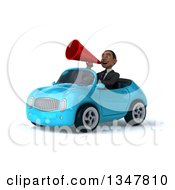 Clipart Of A 3d Young Black Businessman Announcing With A Megaphone And Driving A Blue Convertible Car Slightly To The Left Royalty Free Illustration