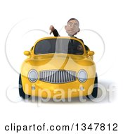 Clipart Of A 3d Young Black Businessman Giving A Thumb Down And Driving A Yellow Convertible Car Royalty Free Illustration