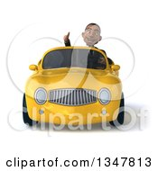 Clipart Of A 3d Young Black Businessman Giving A Thumb Up And Driving A Yellow Convertible Car Royalty Free Illustration