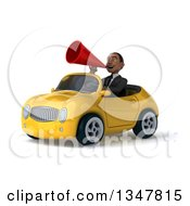 Clipart Of A 3d Young Black Businessman Announcing With A Megaphone And Driving A Yellow Convertible Car Slightly To The Left Royalty Free Illustration
