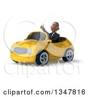 Clipart Of A 3d Young Black Businessman Giving A Thumb Up And Driving A Yellow Convertible Car Slightly To The Left Royalty Free Illustration
