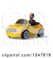 Clipart Of A 3d Young Black Businessman Driving A Yellow Convertible Car Slightly To The Left Royalty Free Illustration