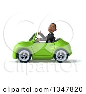 Clipart Of A 3d Young Black Businessman Giving A Thumb Up And Driving A Green Convertible Car To The Left Royalty Free Illustration