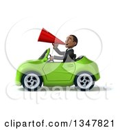 Clipart Of A 3d Young Black Businessman Announcing With A Megaphone And Driving A Green Convertible Car To The Left Royalty Free Illustration