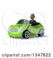 Clipart Of A 3d Young Black Businessman Driving A Green Convertible Car Slightly To The Left Royalty Free Illustration
