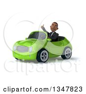 Clipart Of A 3d Young Black Businessman Giving A Thumb Up And Driving A Green Convertible Car Slightly To The Left Royalty Free Illustration