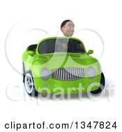 Clipart Of A 3d Young Black Businessman Driving A Green Convertible Car And Turning Royalty Free Illustration