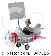 Clipart Of A 3d Young Black Businessman Aviator Pilot Wearing Sunglasses Holding A Blank Sign And And Flying A White And Red Airplane Slightly To The Left Royalty Free Illustration
