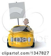 Clipart Of A 3d Young Black Businessman Holding A Blank Sign And Driving A Yellow Convertible Car Royalty Free Illustration