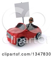 Clipart Of A 3d Young Black Businessman Wearing Sunglasses Holding A Blank Sign And Driving A Red Convertible Car Slightly To The Left Royalty Free Illustration